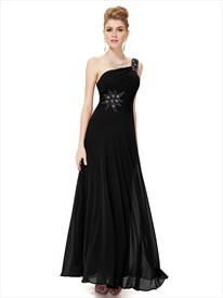 Black Chiffon Embellished One Shoulder Prom Dress With Beaded Straps