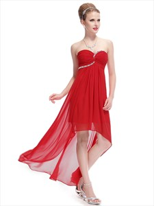 Red Chiffon Sweetheart High Low Bridesmaid Dresses With Beading