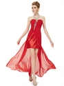 Red Chiffon Strapless High Low Bridesmaid Dresses With Beaded Detail