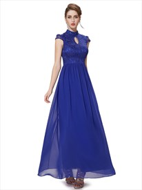 Royal Blue Lace Bodice Chiffon Formal Dresses With Keyhole Detail