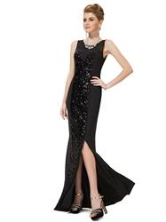 Elegant Black Chiffon Sequin Embellished Evening Dress With Slits