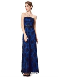 Royal Blue And Black Strapless Lace Prom Dress With Beaded Detail