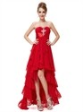 Red Chiffon Sweetheart High Low Ruffled Skirt Prom Dress With Beading