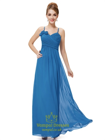 Blue chiffon spaghetti strap bridesmaid dresses with for Wedding dress with blue detail