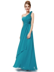 Teal Chiffon One Shoulder Long Bridesmaid Dresses And Floral Detail