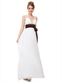 Ivory Spaghetti Strap Chiffon V Neck Bridesmaid Dress With Brown Sash