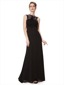 Black Sheath Chiffon Illusion Neckline Prom Dress With Lace Bodice