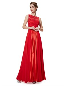Flowy Red Chiffon Floor Length Bridesmaid Dresses With Lace Bodice
