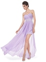 Lilac Chiffon Sweetheart High Low Bridesmaid Dress With Applique Detail