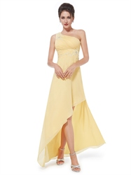 Yellow One Shoulder Chiffon High Low Bridesmaid Dresses With Appliques