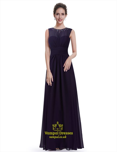 Dark Purple Chiffon Bridesmaid Dress With Beaded Illusion Neckline