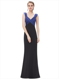 Blue And Black Sheath V Neck Empire Waist Floor Length Prom Dress