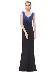 Blue And Black Sheath V Neck Empire Waist Floor Length Prom Dress