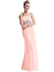 Pink Strapless Empire Chiffon Prom Dress With Jewel Embellishment