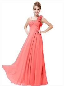 Orange Spaghetti Strap Chiffon Bridesmaid Dresses With Flower Detail
