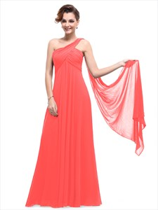Orange Chiffon One Shoulder Empire Bridesmaid Dresses With Watteau Train
