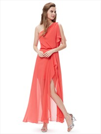 Elegant Orange One Shoulder Chiffon Bridesmaid Dresses With Side Split