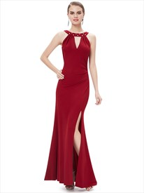 Burgundy Mermaid Jewelled Neckline Side Slits Prom Dress With Cowl Back