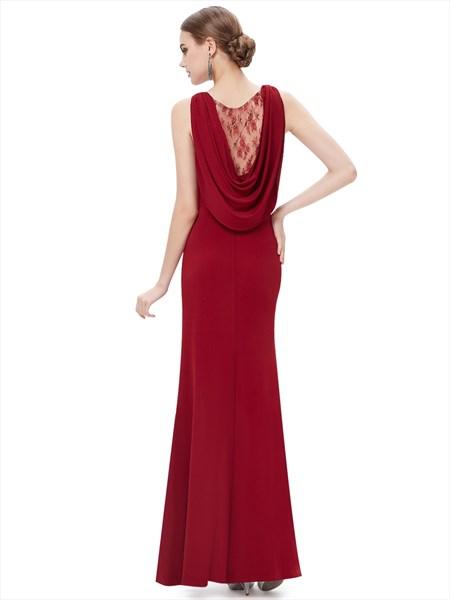 Burgundy Mermaid Jewelled Neckline Side Slits Prom Dress With Cowl Back