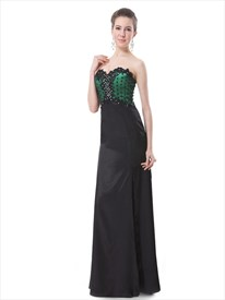 Black And Green Sweetheart Sheath Prom Dresses With Lace Bodice