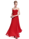 Red Chiffon Sweetheart Strapless Bridesmaid Dresses With Flower Detail