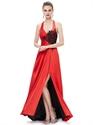 Red Halter Neck Side Slits Prom Dress With Black Lace Applique Detail