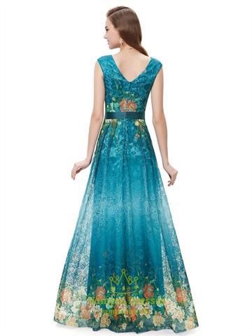 Elegant Teal Blue V-Neck Floral Print Prom Dresses With Cap Sleeves