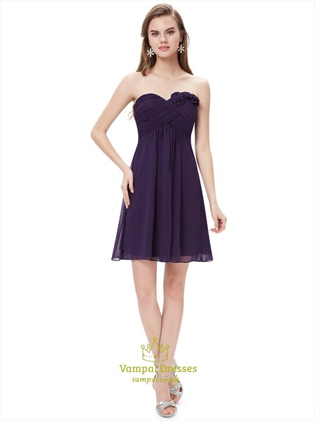 Purple Sweetheart Chiffon Short Bridesmaid Dresses With Floral Detail