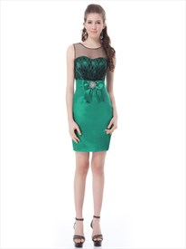 Green Petite Sheath Illusion Neckline Cocktail Dress With Lace Bodice