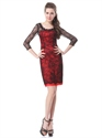 Red And Black Sheath Lace Mother Of The Bride Dresses With 3/4 Sleeves