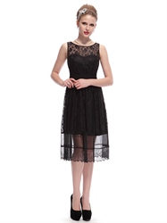 Vintage Black Lace Tea Length Illusion Neckline Bridesmaid Dresses