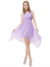Lilac Chiffon Sleeveless Bridesmaid Dresses With Jewelled Neckline