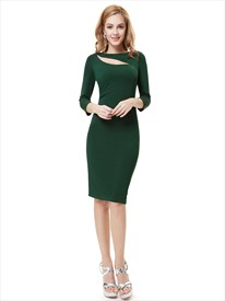 Emerald Green Knee Length Sheath Cocktail Dress With 3/4 Length Sleeves