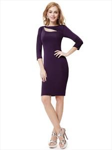 Dark Purple Knee Length Sheath Cocktail Dress With Cutout Detail
