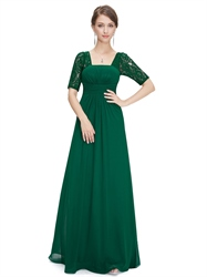 Emerald Green Empire Waist Chiffon Bridesmaid Dresses With Lace Sleeves
