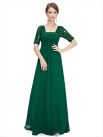 0410f5f4c52 Emerald Green Empire Waist Chiffon Bridesmaid Dresses With Lace Sleeves
