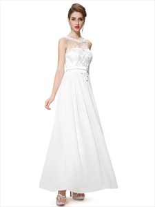 Ivory Chiffon Illusion Neckline Bridesmaid Dresses With Lace Bodice
