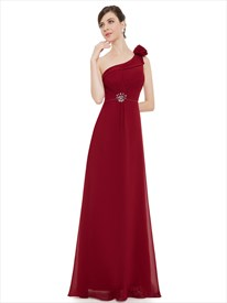 Burgundy Chiffon One Shoulder Bridesmaid Dresses With Beaded Detail