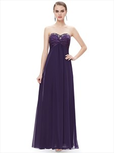 Purple Chiffon Sweetheart Empire Bridesmaid Dresses With Beaded Neckline
