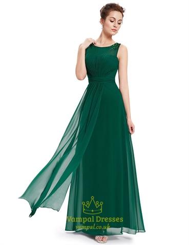 Emerald Green Chiffon Floor Length Bridesmaid Dresses With Beaded Straps