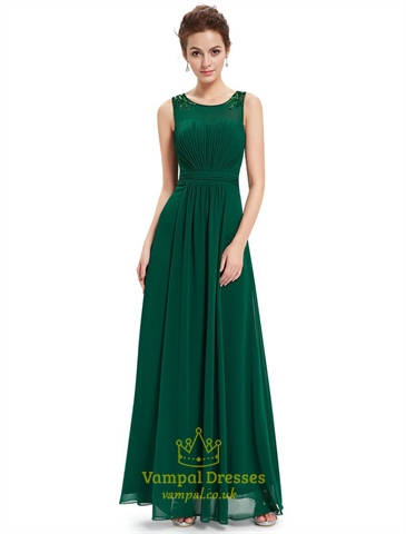 Emerald Green Chiffon Floor Length Bridesmaid Dresses With Beaded Straps