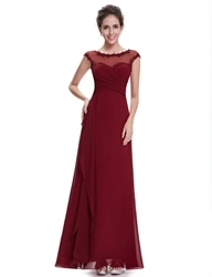 Burgundy Chiffon Cap Sleeves Bridesmaid Dresses With Lace Applique