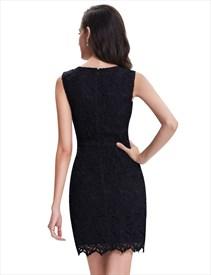 d493a7f391f7 Elegant Black Lace Short Semi Formal Dresses With Cap Sleeves ...