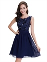 Navy Blue Chiffon Sleeveless Short Cocktail Dress With Sequin Top