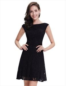 Elegant Black Lace Short Semi Formal Dresses With Cap Sleeves