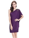 Purple One Shoulder Sheath Short Cocktail Dress With Appliques Detail