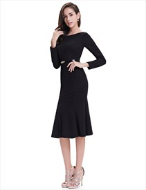 1823e9c15484 Simple Black Cap Sleeve Fit And Flare Tea Length Party Dress ...