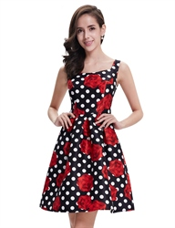 Black And White Polka Dot Summer Casual Dress With Floral Print