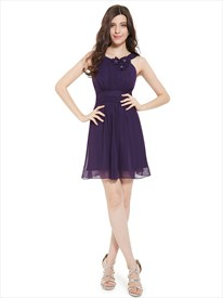 Purple Chiffon Jewel Neckline Bridesmaid Dresses With Flower Detail