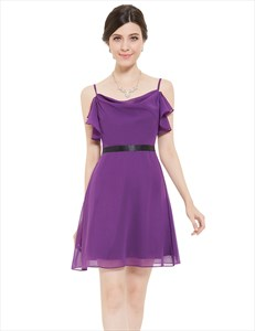 Violet Chiffon Spaghetti Strap Short Bridesmaid Dresses With Ruffles
